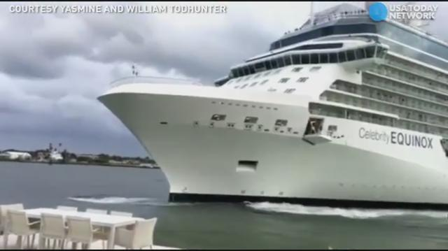 A Ft. Lauderdale couple found a massive cruise ship trying to dock in their backyard.