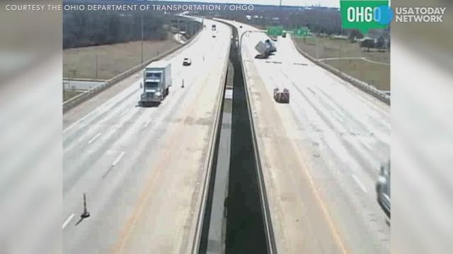 High winds whipping across an Ohio interstate caused a truck to flip right over. Luckily, no one was seriously injured.