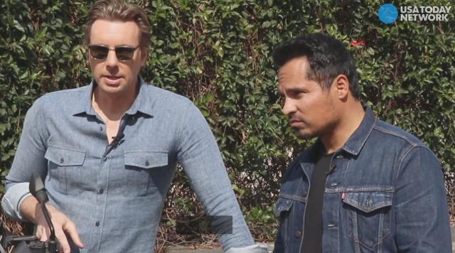 From motocross stunts to tight uniforms, 'CHIPS' stars Dax Shepard and Michael Peña dish on what they had to go through to re-create the iconic cop duo from the 1970s TV show.