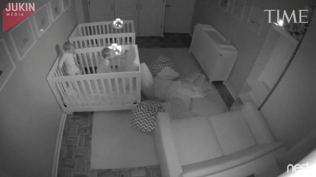 Watch twin toddlers have epic all-night slumber party