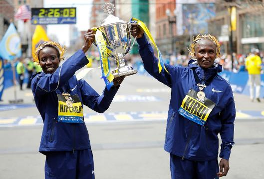 Kenyans Kirui and Kiplagat win in 121st Boston Marathon