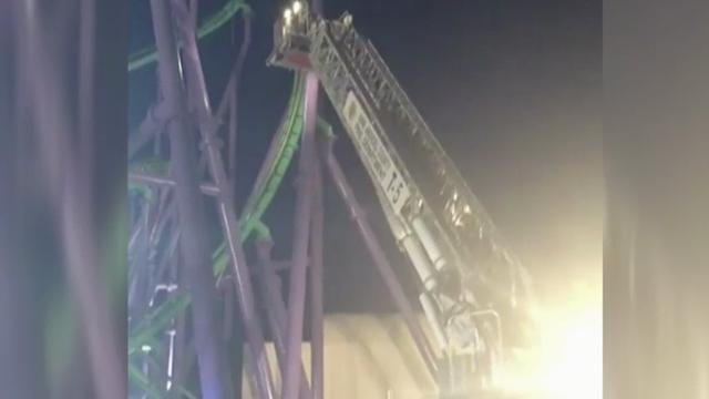 Raw: Crews Rescue Riders Stuck on Roller Coaster