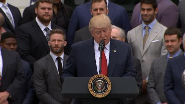 Trump Welcomes Super Bowl Champs Patriots to WH