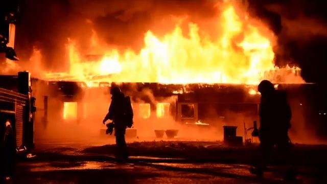 Firefighters Battle Sweden Refugee Center Blaze