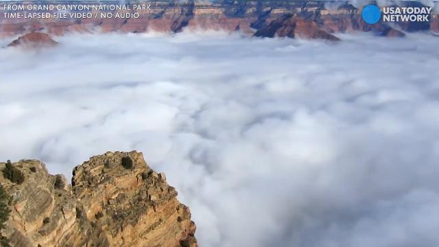 Clouds fill Grand Canyon like real-life fog machine