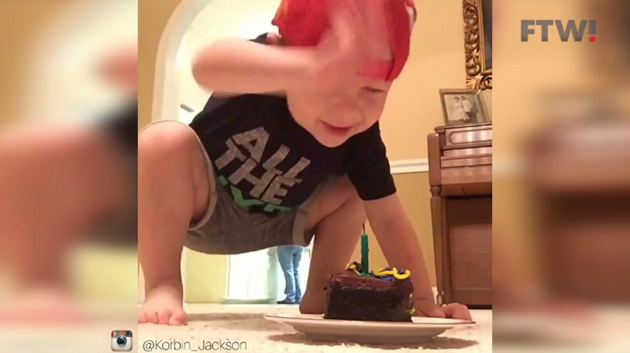 Toddler has adorable reaction to his soccer trick shot