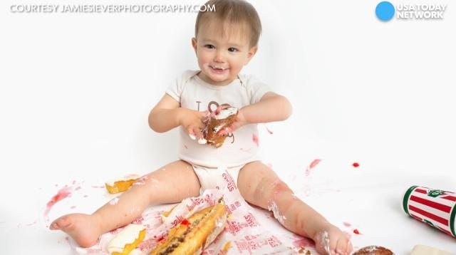 Baby celebrates birthday with messy Philly-themed shoot