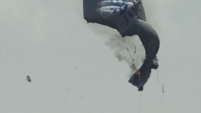 Pilot Burned as Blimp Goes Down