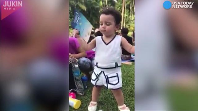 This precocious toddler has had enough of the heat