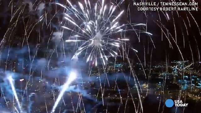 Watch drone fly into fireworks, capturing magical view