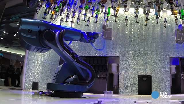 Quantum of the Seas' Bionic Bar mixes your drink in about a minute