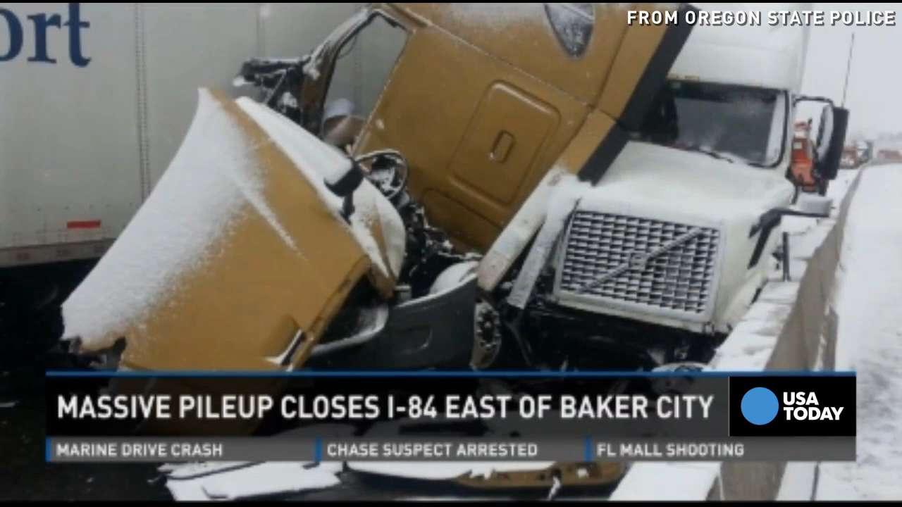 Dozens of semi-trucks involved in Oregon crash