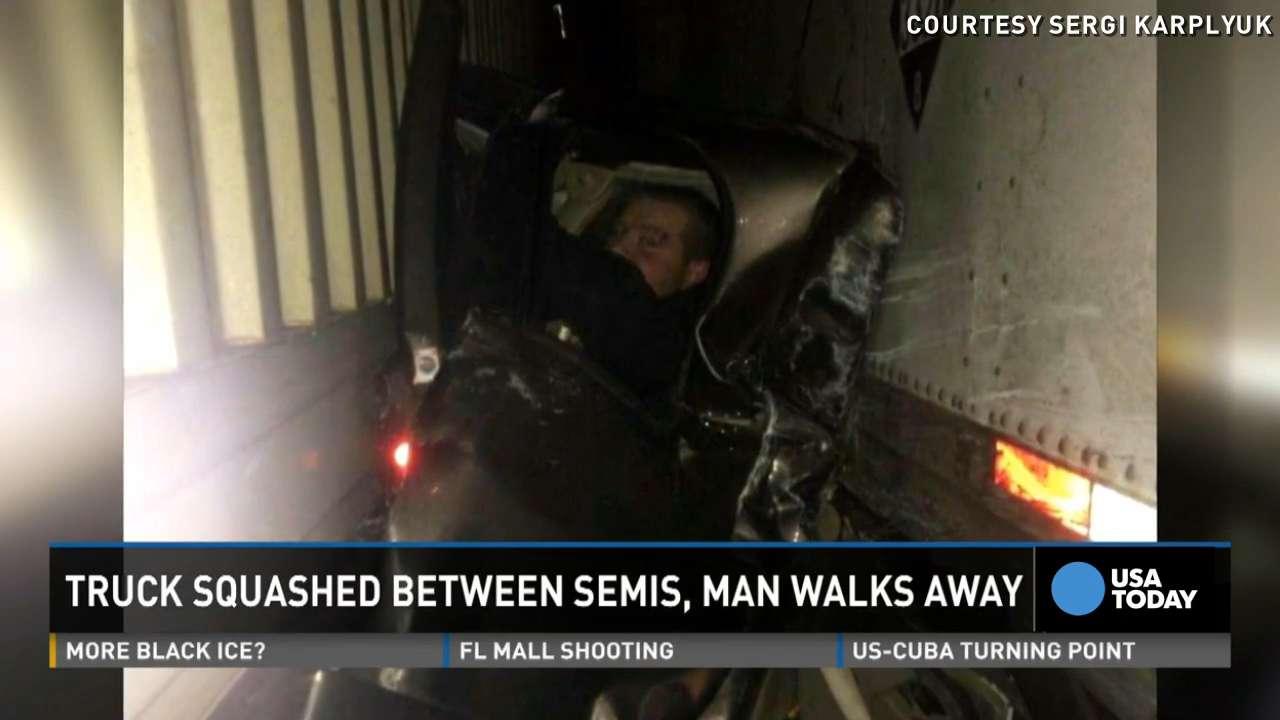 Man pinned between semi-trucks on Oregon highway