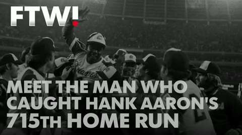 April 8th, 1974, Hank Aaron passed Babe Ruth to become the all-time home run king. Tom House, then a reliever for the Braves, caught the ball.