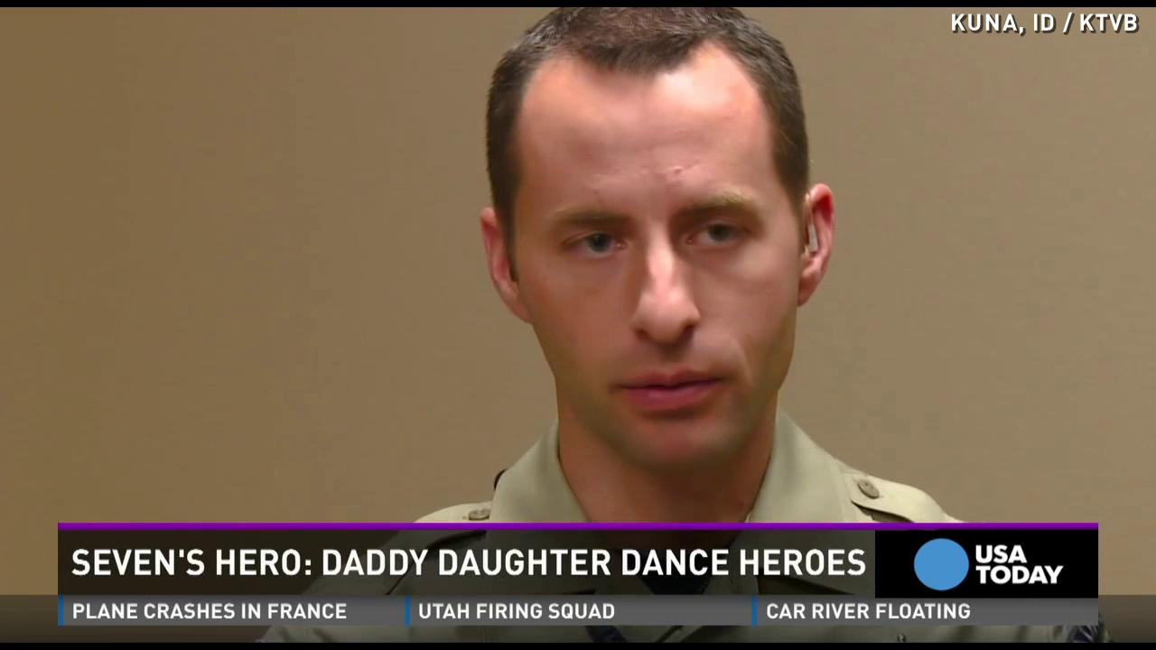 Police surprise girls with daddy-daughter dance