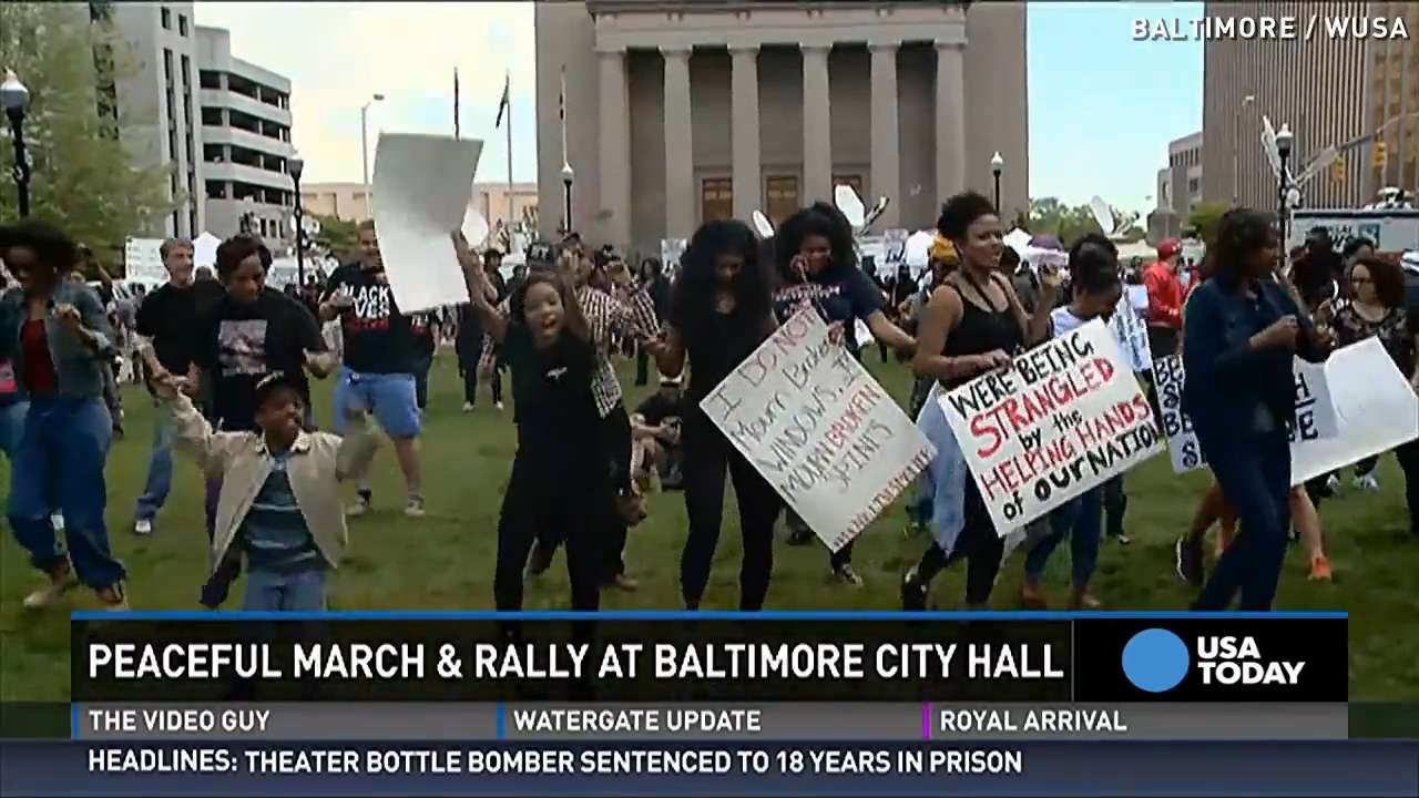 Thousands of peaceful protesters march in Baltimore