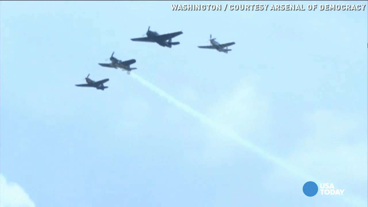 Watch vintage WWII planes fly over National Mall