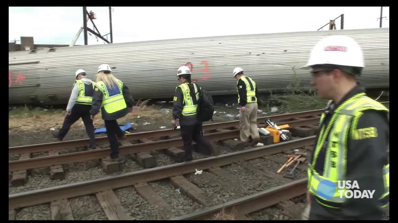 Raw: NTSB footage of Amtrak Train #188 Derailment in Philadelphia