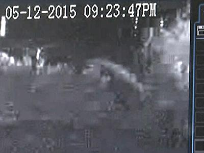 Raw: surveillance video shows train before crash