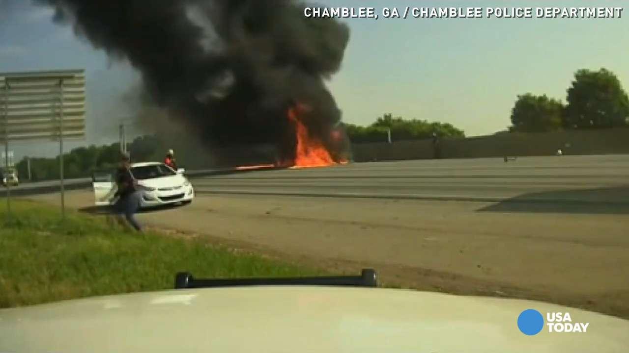 Dashcam video shows plane crashing on I-285