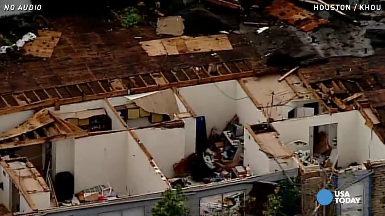 Aerial views show massive storm damage in Houston