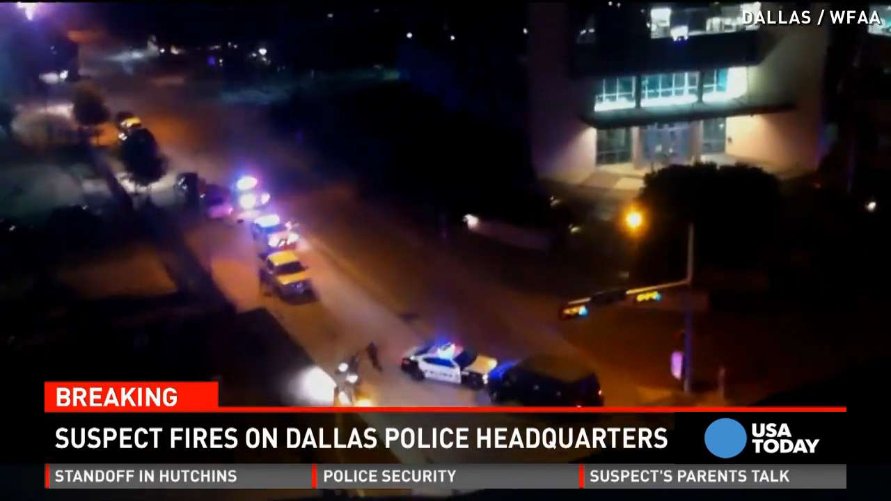 Video captures attack on Dallas police headquarters