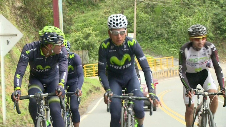 The steep mountain road that hooked Colombia's Nairo Quintana on cycling ran from his childhood home to his old school. Now, the climbing specialist is back training on the same path ahead of the Tour de France. Duration: 02:05