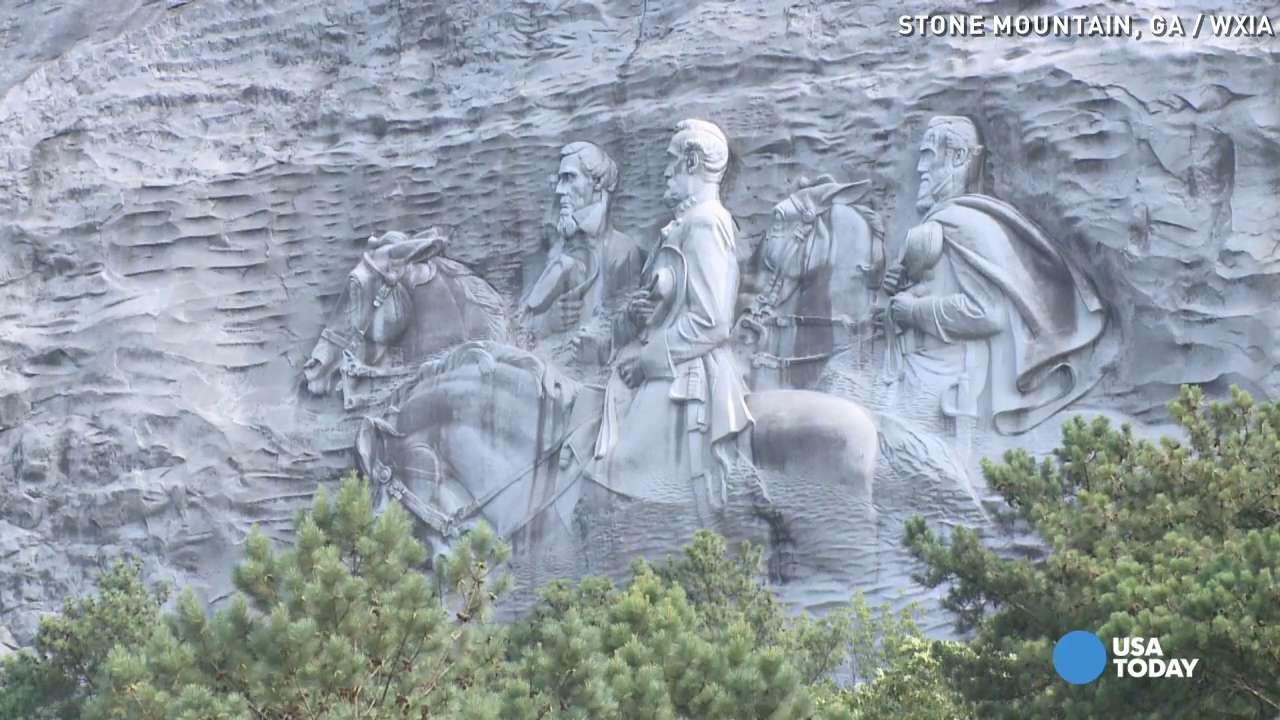 confederate monument no permit to burn cross atop stone mountain