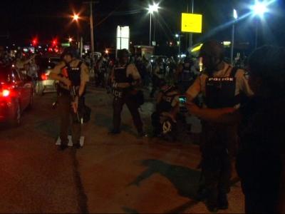 Raw: Arrests in Ferguson as Police Clear Street