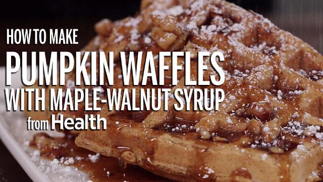 How to make pumpkin waffles with maple-walnut syrup