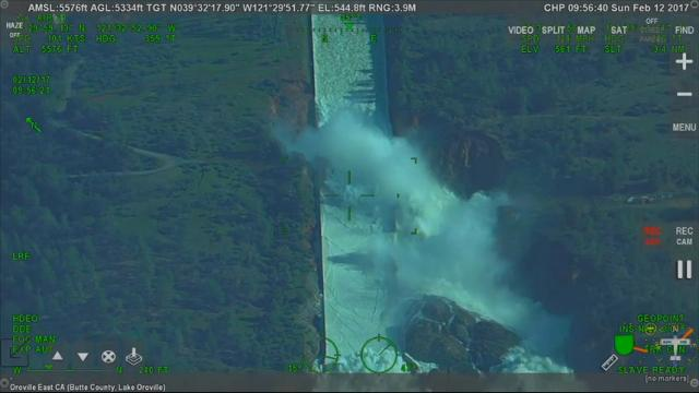 Raw: Video shows water gush through dam spillway
