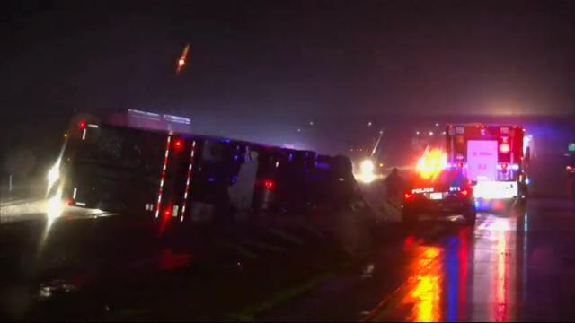 A storm system that's blamed for the death of a truck driver in Oklahoma barreled eastward Wednesday, putting 17 million people in the central United States at risk for bad weather, forecasters said. (March 29)