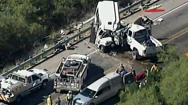 Twelve people were killed and three others were injured Wednesday when a pickup truck slammed head-on into a van carrying 14 senior members of a Texas Hill Country church on a two-lane highway in southwestern Texas, authorities said. (March 29)