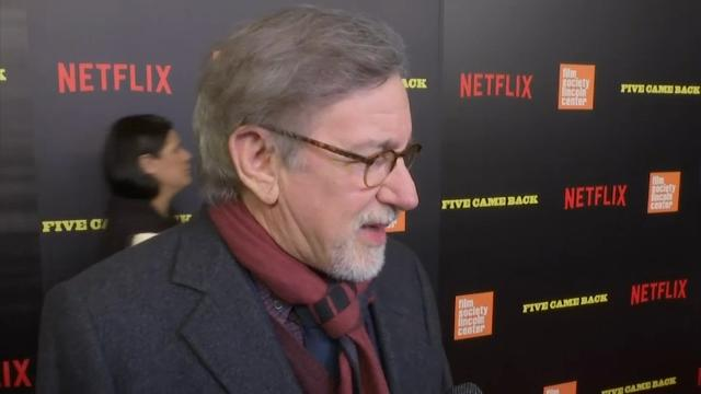 """At the New York premiere of documentary """"Five Came Back: A Story of Hollywood and the Second World War,"""" Guillermo del Toro talks about Frank Capra's immigration struggles, while Steven Spielberg discusses the accomplishments of the five directors profiled in the film. (March 28)"""