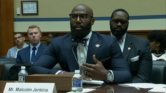 NFL Players Malcolm Jenkins and Anquan Boldin spoke on Capitol Hill Thursday pressing Congress for criminal justice reform. (March 30)