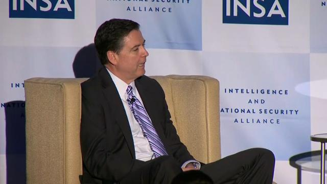 FBI Director James Comey says the FBI doesn't consider how its decisions will affect politics. Comey spoke about the FBI's recent politically charged cases at the Intelligence and National Security Alliance dinner in Washington on Wednesday. (March 30)