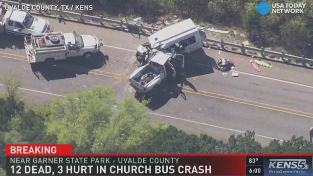 12 people were killed and three injured in a crash between a church bus and pickup truck, according to the Texas Department of Public Safety.