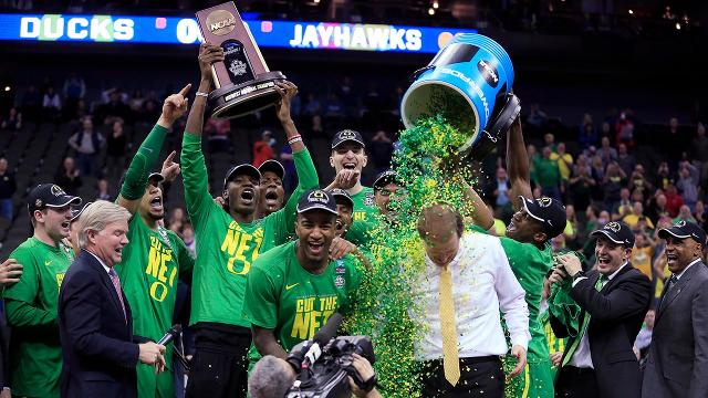 The Oregon Ducks have reached the Final Four for the first time since 1939 after a 74-60 win over the Kansas Jayhawks in the Elite Eight.
