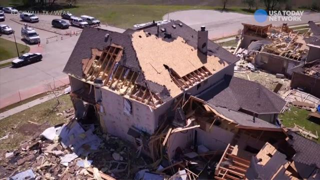 WFAA drone footage captures the aftermath of a storm that passed through Rockwall, Texas.