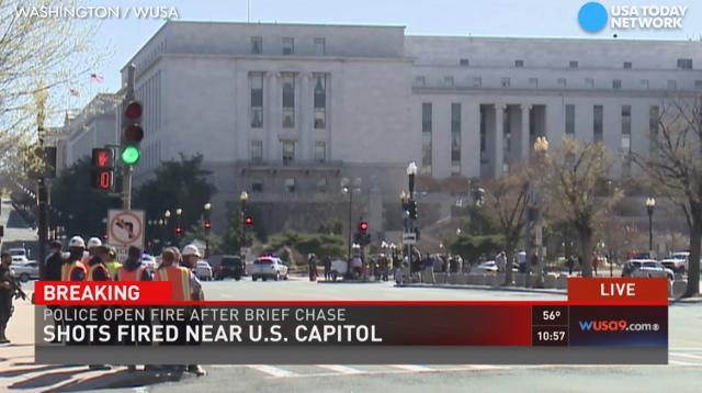 Police say a woman is in custody after allegedly driving erratically outside the U.S. capitol building. The woman nearly hit a police car, according to police.