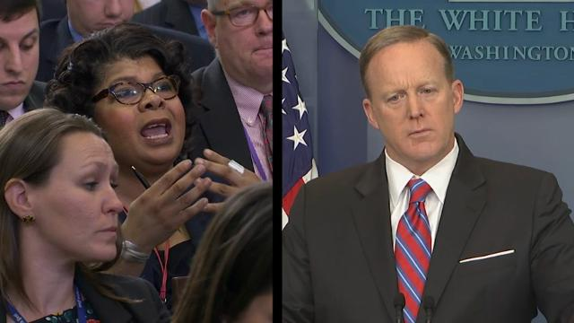 A contentious exchange between White House Press Secretary Sean Spicer and April Ryan, the American Urban Radio Networks' White House Correspondent unfolded Tuesday. Answering questions on Russia, Spicer told Ryan to stop shaking her head. (March 28)