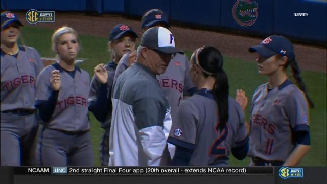 Tempers flared Monday night when Auburn senior Haley Fagan exchanged shoves and heated words with Florida coach Tim Walton.