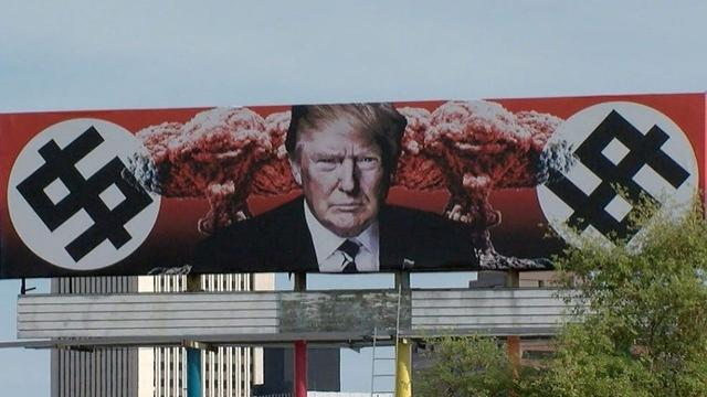The property owner says she'll keep the billboard up as long as President Donald Trump is in office.