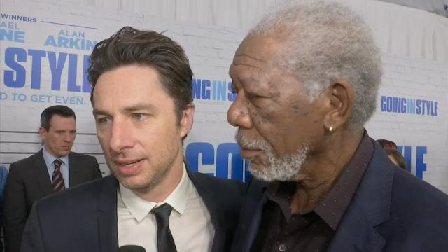 At the New York premiere of his new movie 'Going in Style,' director Zach Braff embraces star Morgan Freeman and reveals what it was like to work with the veteran actor.