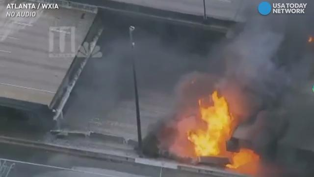 Raw: Atlanta fire causes I-85 overpass to collapse