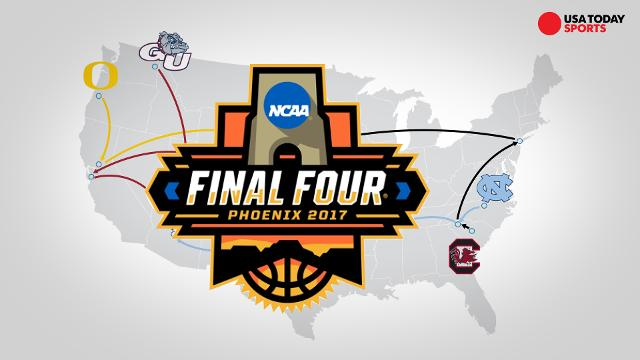 A look at the paths taken by the remaining teams in this year's mens NCAA basketball tournament.