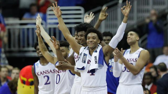 The Kansas Jayhawks, led by a pair of dynamic guards, rout the Purdue Boilermakers and will now face the Oregon Ducks to decide who will go to the Final Four.