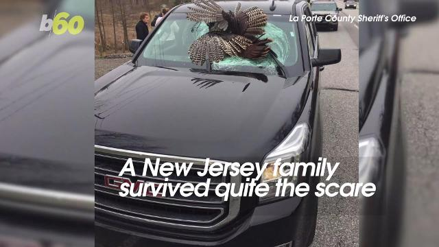 A New Jersey family survived quite the scare. As they were driving a rented SUV on an Indiana Highway. A flying turkey smashed through the windshield. Susana Victoria Perez (@susana_vp) has more