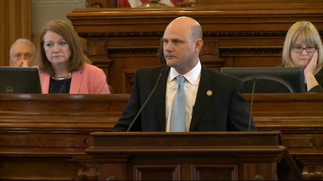 A Kansas House member whose 10-year-old son died last summer on a water park slide spoke to his colleagues on the subject for the first time Thursday shortly before they voted unanimously to strengthen inspection rules for amusement rides. (March 30)