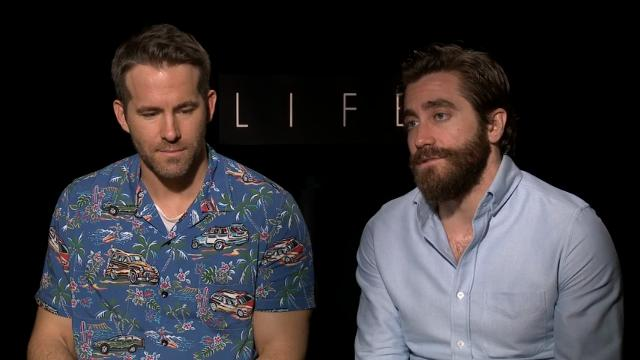 "Ryan Reynolds and Jake Gyllenhaal compliment each other while discussing forming a deep bond during the shoot of their new sci fi drama ""Life."" (March 24)"